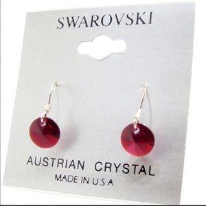 Sterling Silver & Swarovski Crystal Earrings RED